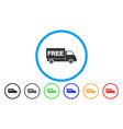 free shipment van rounded icon vector image vector image