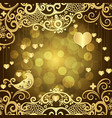 gold valentines frame with golden hearts vector image