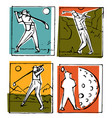 golf club icons posters set vector image