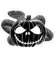 halloween pumpkin with snake cartoon vector image vector image