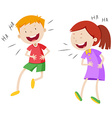 Happy boy and girl laughing vector image