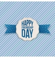 Happy Friendship Day Emblem with blue Ribbon vector image vector image