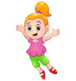 happy little girl cartoon vector image
