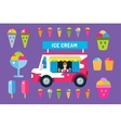 Ice cream truck van and icons set vector image