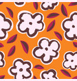 ink seamless pattern with leaves and flowers vector image