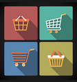 Internet shopping carts and baskets vector image vector image