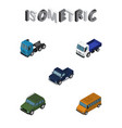 isometric car set of autobus lorry suv and other vector image vector image