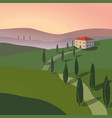 landscape with mountains and hills tuscany vector image vector image