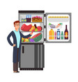 man thinking snacking sausage at fridge with vector image