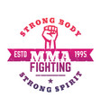 mma fighting logo emblem t-shirt print vector image vector image
