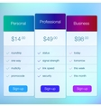 Modern user interface screen price signup template vector image