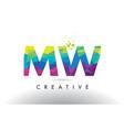 mw m w colorful letter origami triangles design vector image