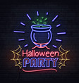 neon sign halloween party with cauldron vector image vector image