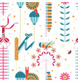 pattern with insects and flowers in night garden vector image