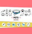 pets line icons set vector image vector image