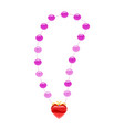 princess necklace pearls heart-shaped pendant vector image