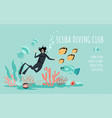 scuba diving club banner template with a diver vector image