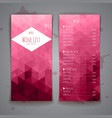set abstract triangle wine menu background vector image