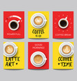 set modern posters with coffee backgrounds vector image vector image