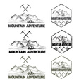 set of sketch vintage labels mountain adventure vector image