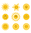 set of sun icons Collection of suns vector image