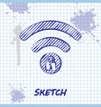 sketch line wifi locked sign icon isolated on vector image vector image
