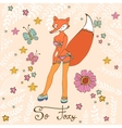 So foxy elegant concept card with attractive fox vector image vector image