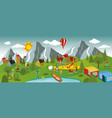 summer landscape and summer activities vector image