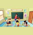 teacher scolding pupil in class cartoon vector image vector image