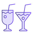 two ocktail glasses flat icon different beverages vector image vector image
