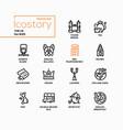 uk - modern line design style icons set vector image