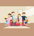 warm big family portrait with blurred background vector image