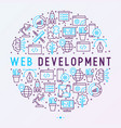 web development concept in circle vector image vector image