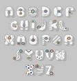 white alphabet superhero style vector image