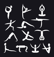 yoga poses and health care icons fitness symbol vector image vector image