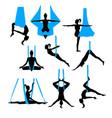 aero yoga silhouettes black and white icons vector image