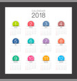 2018 calendar minimal desk calendar colorful vector image