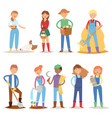 different farmer workers people character vector image