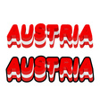 Austria typography Text of Austrian flag Emblem of vector image vector image