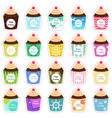 birthday cupcakes icons vector image