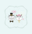 black line cute happy stylish bride and groom vector image