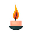 burning small decorative pink candle in bowl vector image