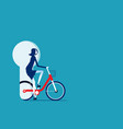 businesswoman riding bicycle to success exercise vector image