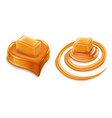 caramel heart candy and caramel splash vector image