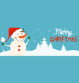 cartoon banner for holiday theme with snowman on vector image
