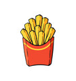 cartoon french fries in a paper red pack vector image vector image