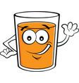 cartoon happy glass of orange juice vector image vector image