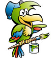 cartoon of a parrot painter handyman worker vector image vector image