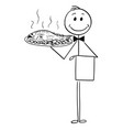 cartoon waiter holding silver plate or tray vector image