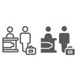 check-in line and glyph icon hotel and service vector image vector image
